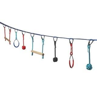 Ivation Portable 36 Foot Slackline Monkey Bar Kit  Kids Swinging Obstacle Course Set - Bars, Fists, Gymnastics Rings