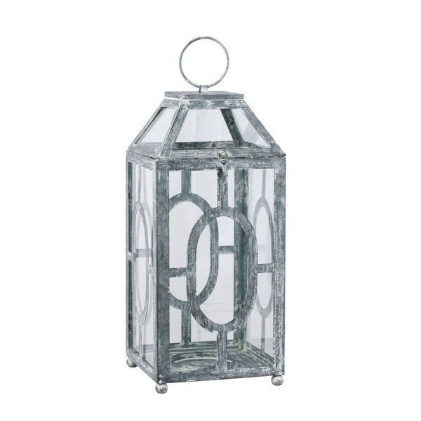 "19.5"" Gray and Clear Distressed Style Classic Large Lantern - N/A"