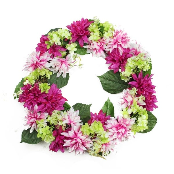 "22"" Decorative Fuchsia Pink and Cream White Artificial Floral Dahlia and Hydrangea Wreath - Unlit"