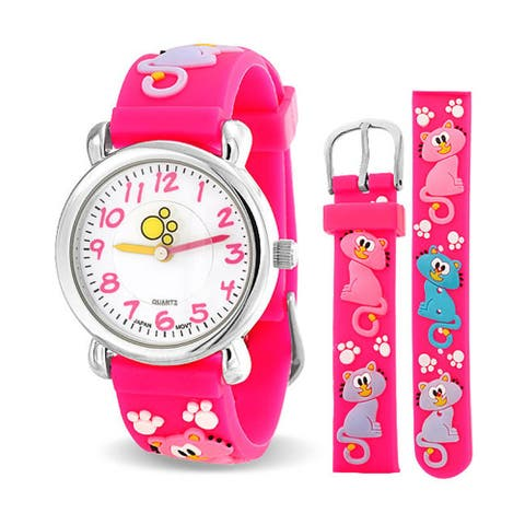 Cats Kitten Pet Paw Print Waterproof Wrist Watch Time Teacher Quartz 3D Cartoon Pink Silicone Wristband Round White Dial