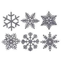 Silver Glitter Assorted Snowflake Ornament - 5 in. - 6 per Box