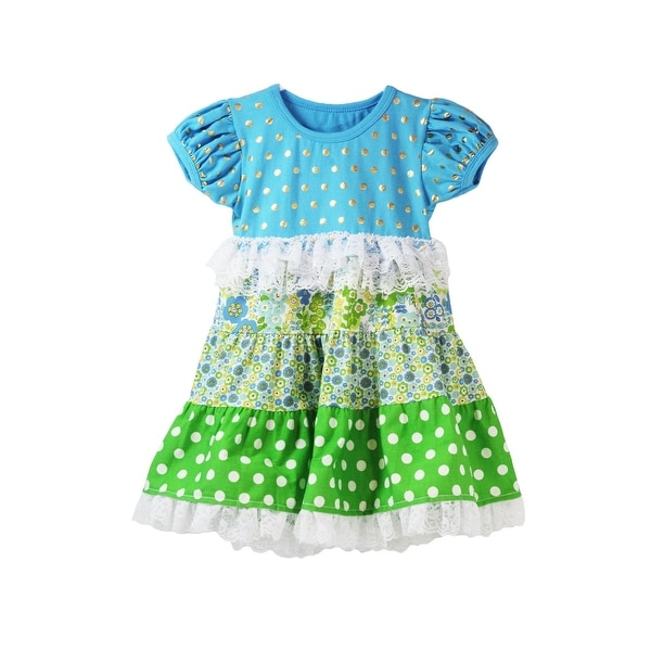 Baby Girls Blue Green Gold Polka Dot Floral Lace Accent Cap Sleeve Dress 12M
