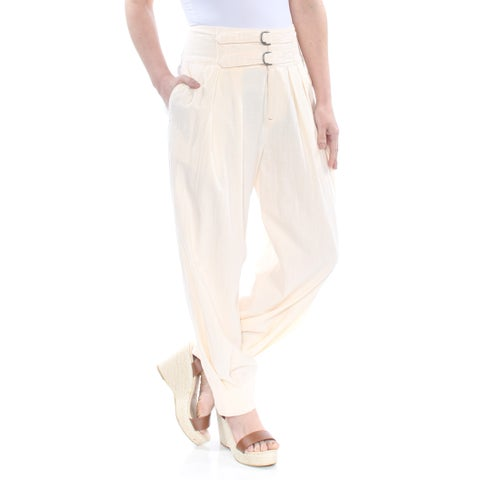 FREE PEOPLE Womens Ivory Double Buckle Crop Pants Size: 2