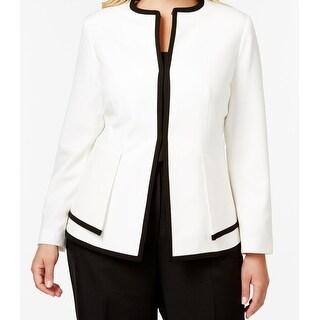 Calvin Klein NEW White Ivory Women's 20W Plus Contrast Trim Jacket