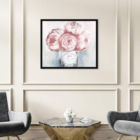 Oliver Gal 'Peony Jam' Floral and Botanical Framed Wall Art Prints Florals - Pink, Gray