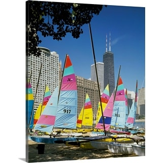 """Boats docked at a harbor, Chicago, Cook County, Illinois"" Canvas Wall Art"