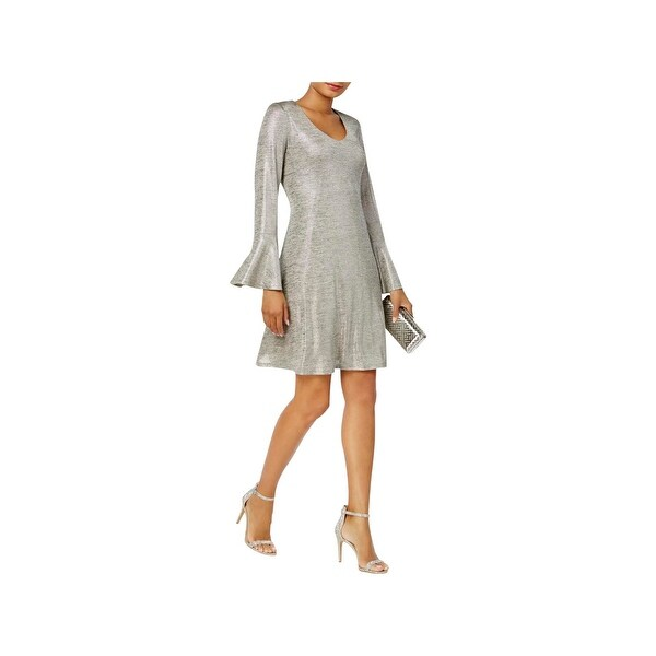 Connected Apparel Womens Cocktail Dress Metallic Shift