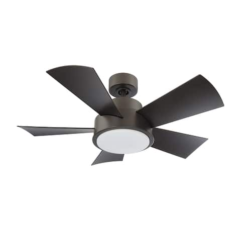 Elf 38 Inch Five Blade Compact Indoor / Outdoor Smart Ceiling Fan with Six Speed DC Motor and LED Light.