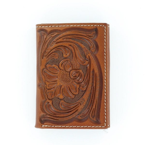 Nocona Western Wallet Mens Trifold Tooled Leather Saddle - One size