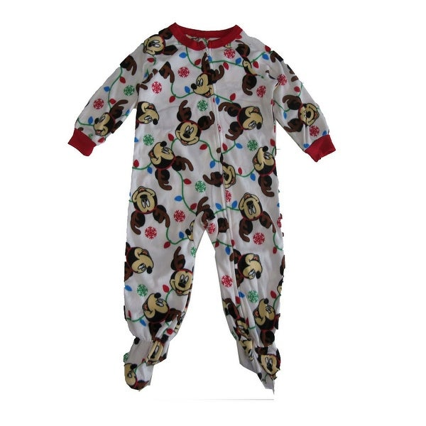 ed4e37561f Disney Little Boys White Red Mickey Mouse Snowflake Zip-Up Footed Sleeper