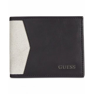 Guess NEW Black Bautista Double Billfold Size Bifold Mens Leather Wallet