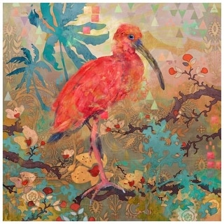 """Marmont Hill MH-MWWES-44032-C-32 32 Inch x 32 Inch """"Scarlet Ibis"""" Giclee Art Print on Stretched Canvas by Evelia - 32 x 32"""