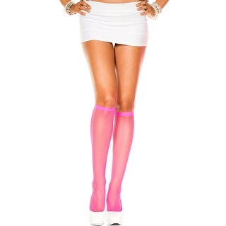 Fishnet Knee Highs, Fishnet Hosiery - Pink - One Size Fits Most