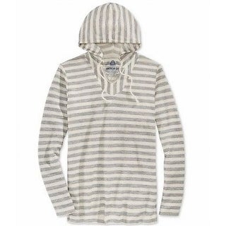 American Rag NEW White Ivory Mens Size Medium M Striped Hooded Sweater