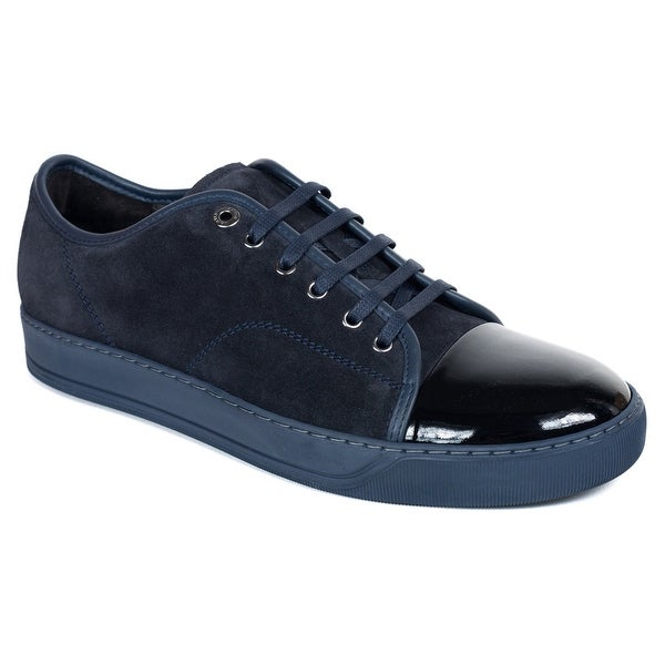 Lanvin Dark Blue Suede Patent Cap Lace Up DDB1 Sneakers