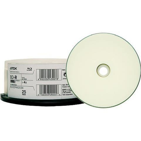 TDK Blu-ray, Single Layer, 25GB, Write Once, 4X, Thermal Wht Hub Printable