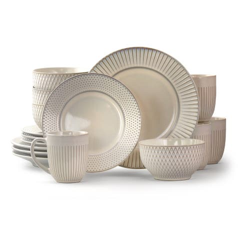 Elama Marketplace Favorites16pc Dinnerware Set in Embossed White