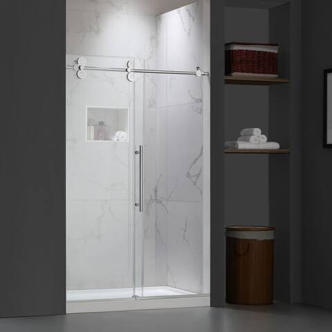 """FELYL 44-48"""" W × 76"""" H Single Sliding Frameless Shower Door"""