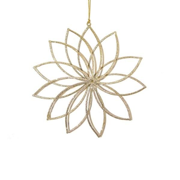 """8"""" Have Faith Gold Glitter Starburst Flower Christmas Ornament"""