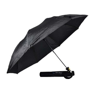 Rain Pro Black Fold Umbrella with Curved Rubber Automatic Handle with Gold Frame
