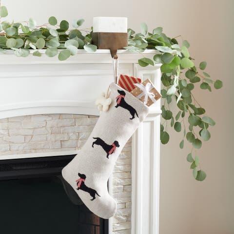 "SAFAVIEH Holiday Ginger Beige Dachshund Hanging Stocking (Set of 2) - 12"" W x 20"" L"
