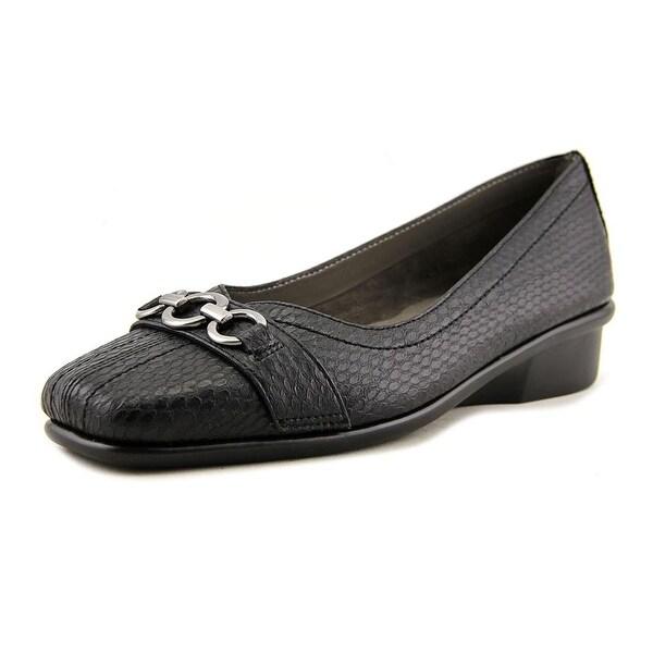Aerosoles Megaphone Women Square Toe Leather Black Loafer