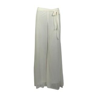 Onyx Nite Women's Wide Leg Belted Chiffon Pants - Blue