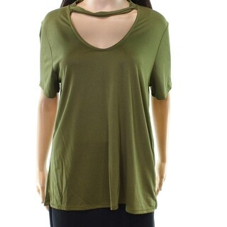 Harlowe & Graham Green Women's Size Small S V-Neck Cutout Knit Top
