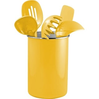 Reston Lloyd Enamel on Steel Utensil Holder & 5 Piece Utensil Set, Yellow
