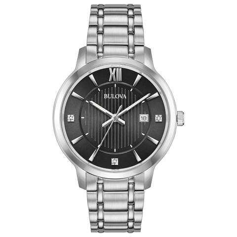 Bulova Men's 96D141 Stainless Diamond-Accent Black Dial Bracelet Watch - Silvertone