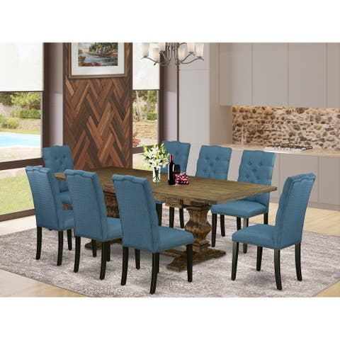 LAEL9-71-21 9 Pc Dining Set - Rectangle table and 8 Parson Chairs (Finish Options)