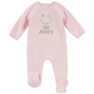 Juicy Couture Girls 0-9 Months Smile Velour Coverall - Pink