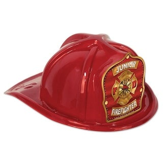 Club Pack of 48 Red Junior Firefighter Hat with Shield Costume Accessories