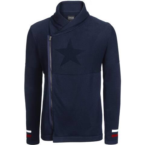 Marvel Mens Sweater Blue Size XS Full Zip Cardigan Stripe-Detail