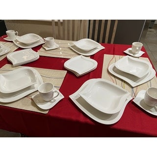 MALACASA Elvira 30-Piece Foliaceous Dinnerware Set (Service for 6)