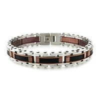 Tri-Tone Stainless Steel High Polish Cable Inlay Bracelet - 8.75 inches