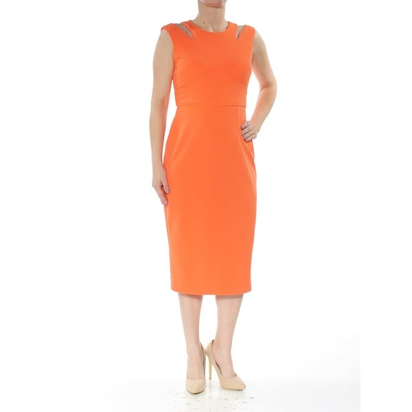 Shop Calvin Klein Womens Orange Cut Out Sleeveless Jewel