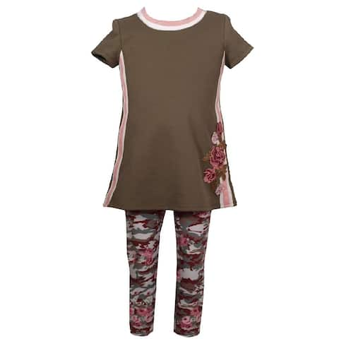 Bonnie Jean Olive Floral Applique Camouflage Outfit Baby Girls