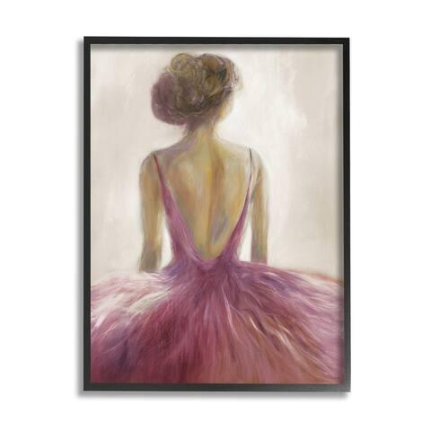 Stupell Industries Abstract Pink Ballerina Tutu Female Dancer Framed Wall Art