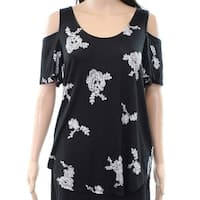 Context Women's Small Cold-Shoulder Abstract Floral Blouse