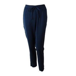 DKNYC Women's Solid Drawstring Tapered Pants