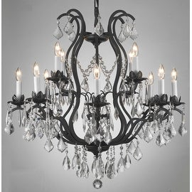 Wrought Iron Crystal Chandelier Lighting H30 x W28