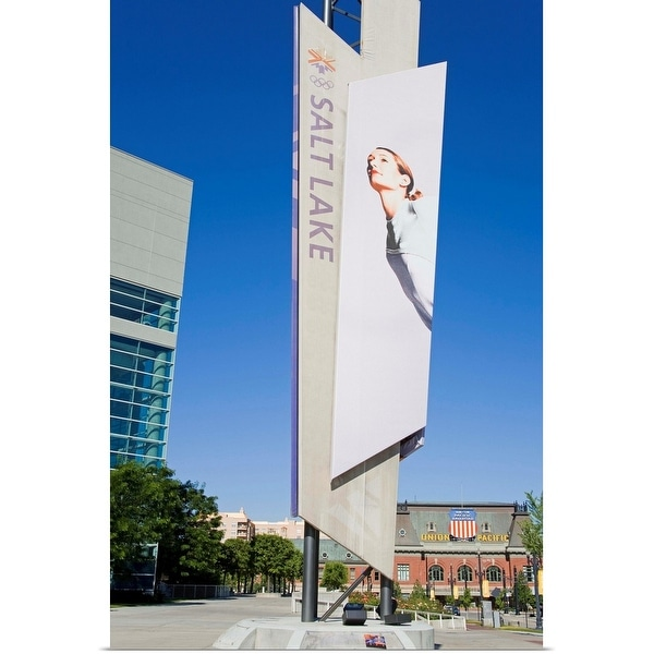 """""""Winter Olympic banner and Union Station"""" Poster Print"""