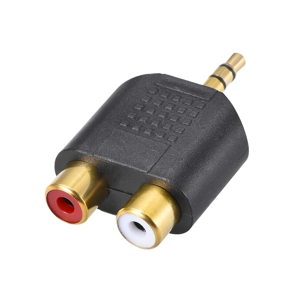 3.5mm Male to 2 RCA Female Splitter Black for Stereo Audio Video Cable Convert