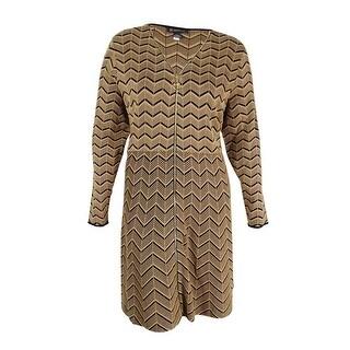 INC International Concepts Women's Chevron Sweater Dress (3X, Heather Ginger) - heather ginger - 3x