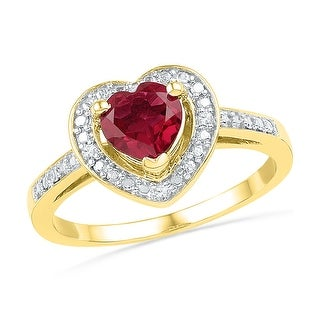 10kt Yellow Gold Womens Round Lab-Created Ruby Heart Love Fashion Ring 1.00 Cttw - Red/White