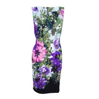 Connected Women's Sleeveless Floral-Print Sheath Dress - Purple