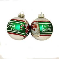 """Pack of 6 Green and Cream White Santa Claus Ball Ornaments with Hanger 2.6"""""""