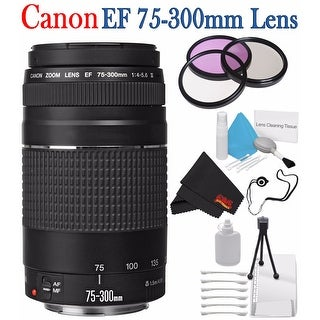 Canon EF 75-300mm f/4-5.6 III Telephoto Zoom Lens 6473A003 + 58mm 3 Piece Filter Kit + Lens Cap Keeper Bundle