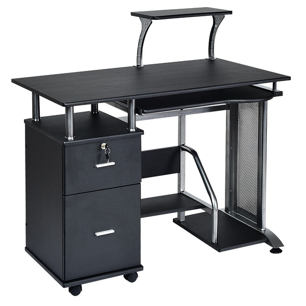Wido White Basic Computer Desk Office Study 3 Drawers//Shelves PC Table